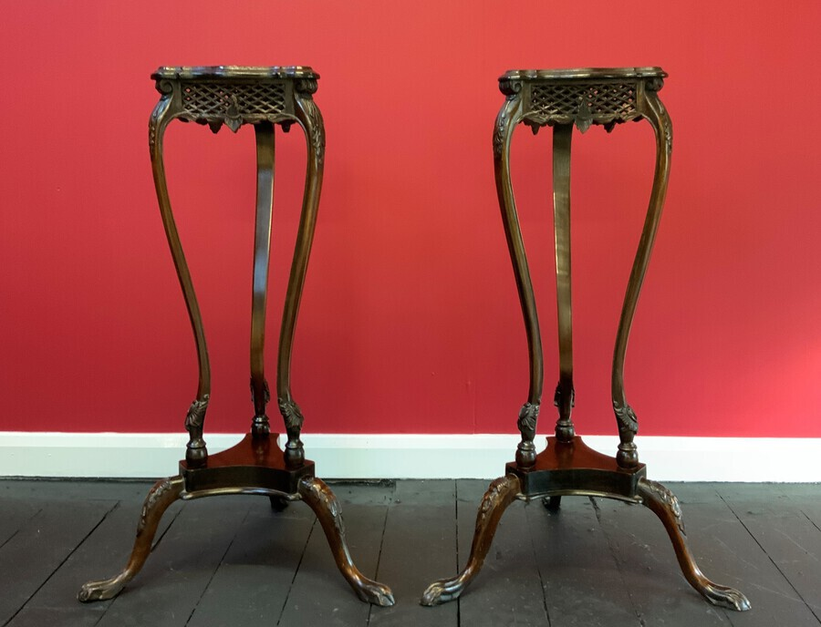 Antique Attractive Pair Of early 1900s Chippendale Inspired Jardinière Plant Stands
