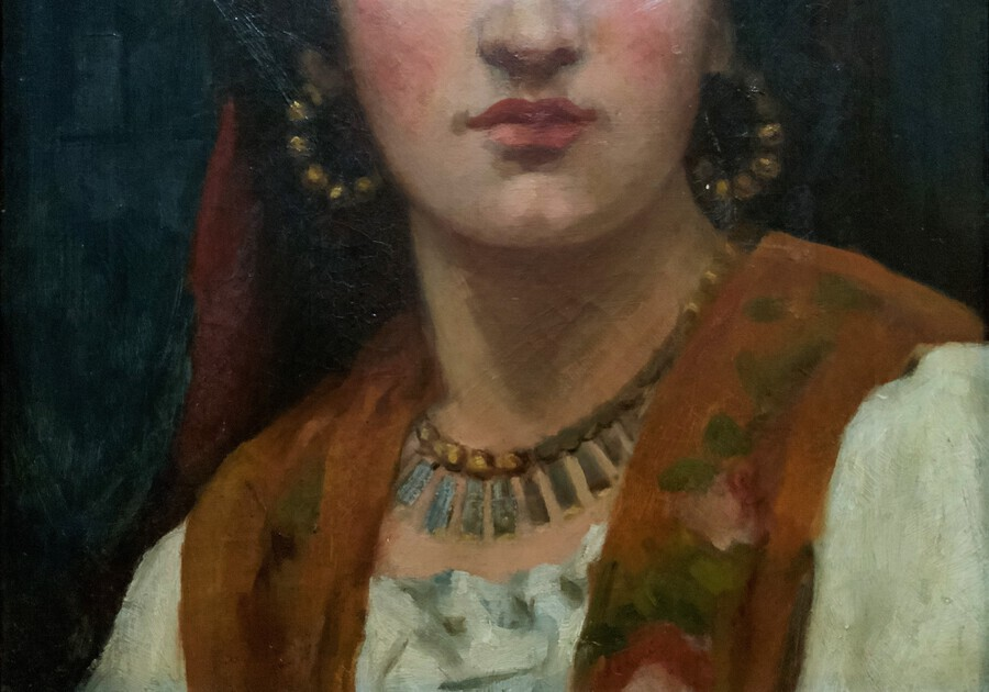 Antique Beautiful Original 19th Century Portrait Oil Painting Of A Pretty Gypsy Girl