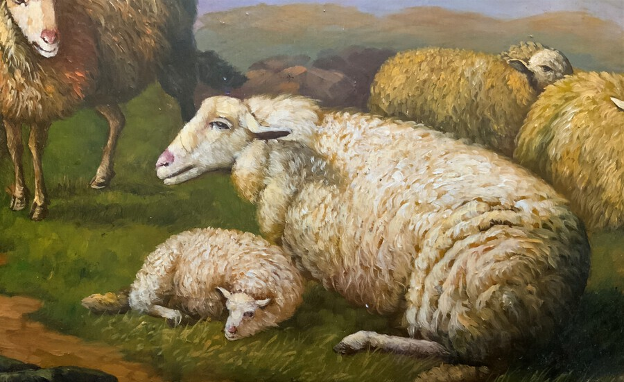 Antique Outstanding Original Oil On Panel Painting - 18thc Manner - Sheep In A Landscape