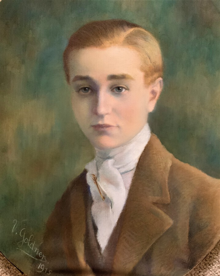 Antique Fine Large Period George V Oval Pastel Portrait Painting Of A Young Handsome Boy