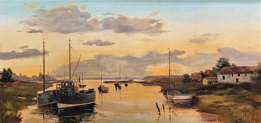 Antique 'The Estuary At Sundown' A Large Superb Original Vintage Seascape Oil Painting