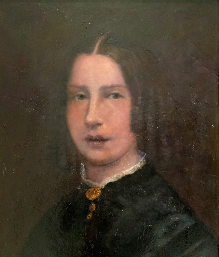 Antique Original 19th Century British Primitive School Oil Portrait Painting Of A Lady