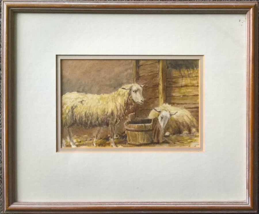 ORIGINAL 19th CENTURY ENGLISH SCHOOL RAM & YEW - FARM BARN WATERCOLOUR PAINTING