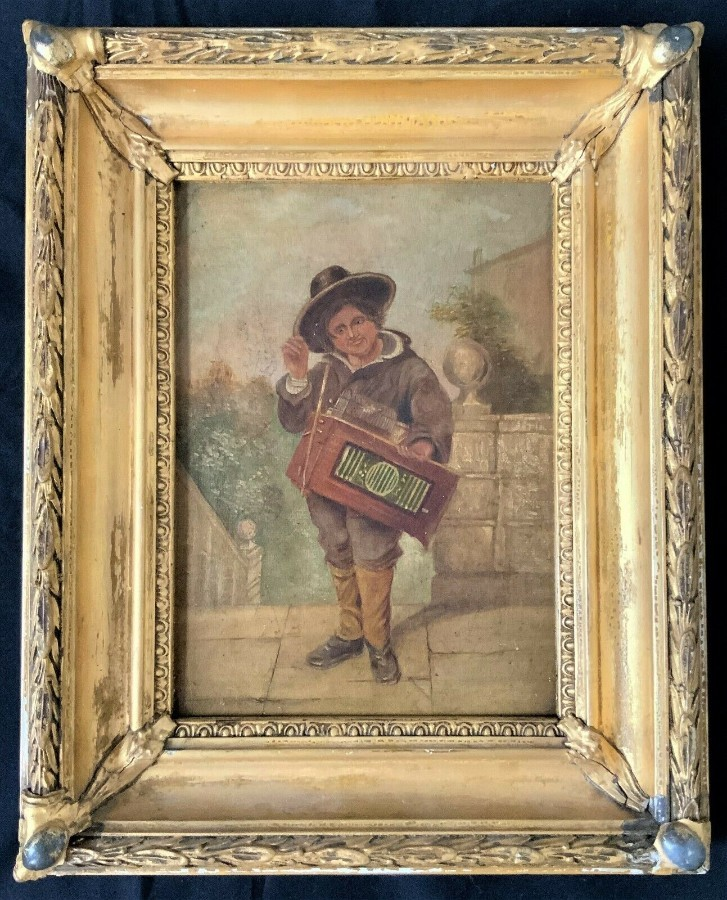 FAB EARLY 19thc REGENCY OIL PORTRAIT PAINTING OF A YOUNG MUSICIAN WEARING A HAT