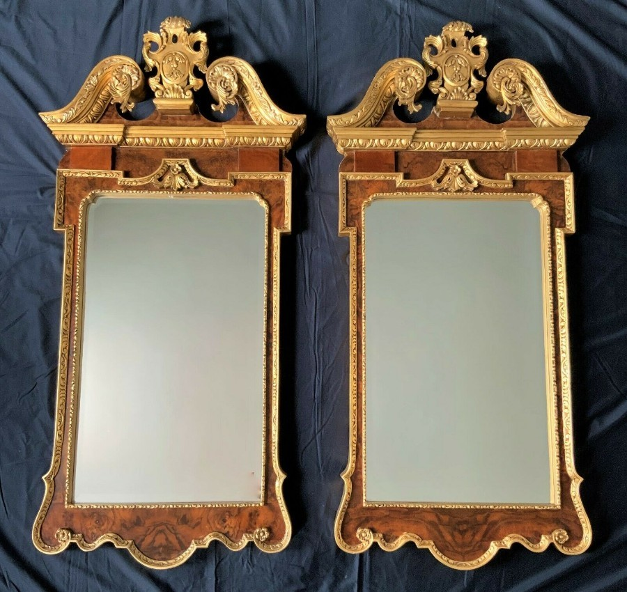 LARGE PAIR ANTIQUE GEORGE II BURR WALNUT & PARCEL GILT PIER WALL HALL MIRRORS