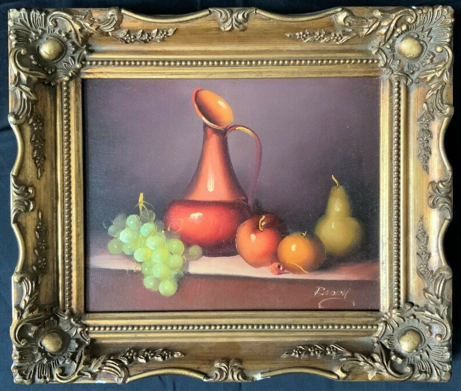 BEAUTIFUL ORIGINAL 20thc VINTAGE STILL LIFE FRUIT STUDY OIL ON CANVAS PAINTING
