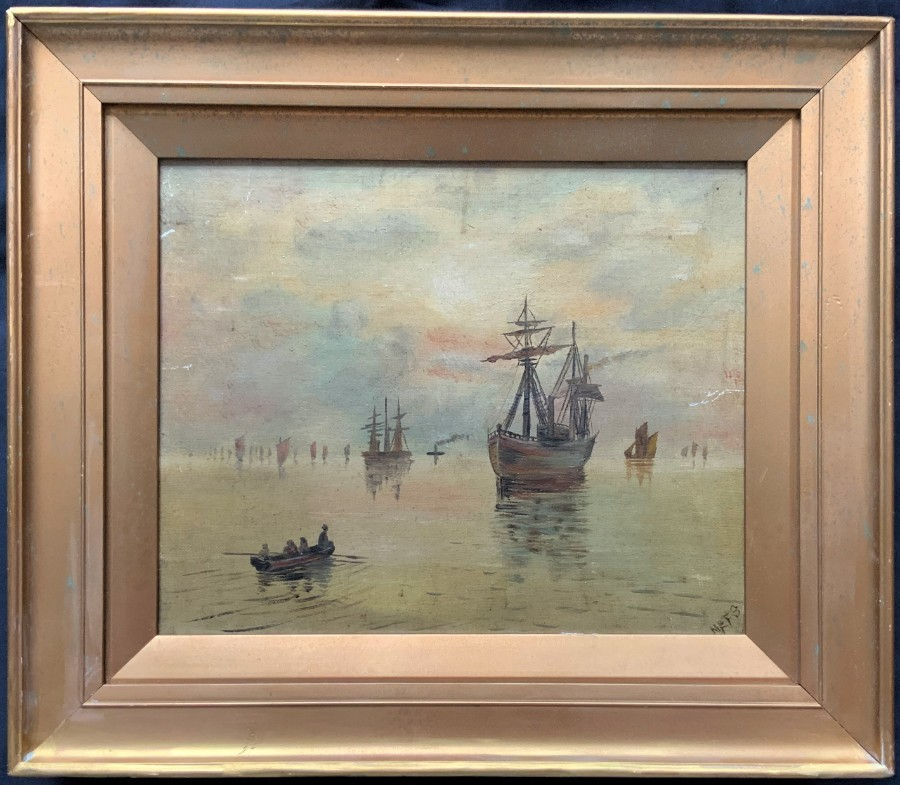 LOVELY 19thc PRIMITIVE ANTIQUE SEASCAPE MARITIME OIL ON CANVAS PAINTING - SIGNED
