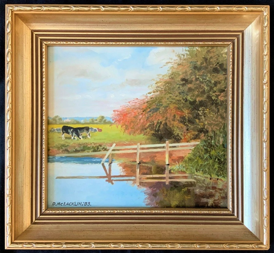GORGEOUS ORIGINAL VINTAGE OIL ON BOARD PAINTING ALONG THE CANAL TAUNTON SOMERSET