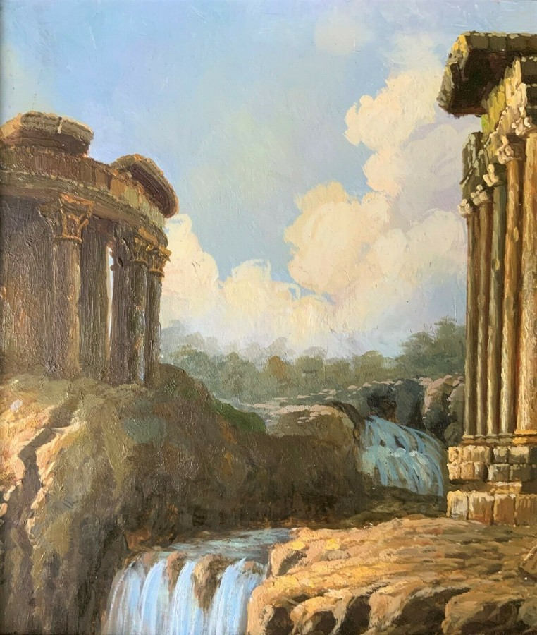 Antique SUPERB 20thc ITALIAN SCHOOL A CAPRICCIO OF RUINS LANDSCAPE OIL ON PANEL PAINTING