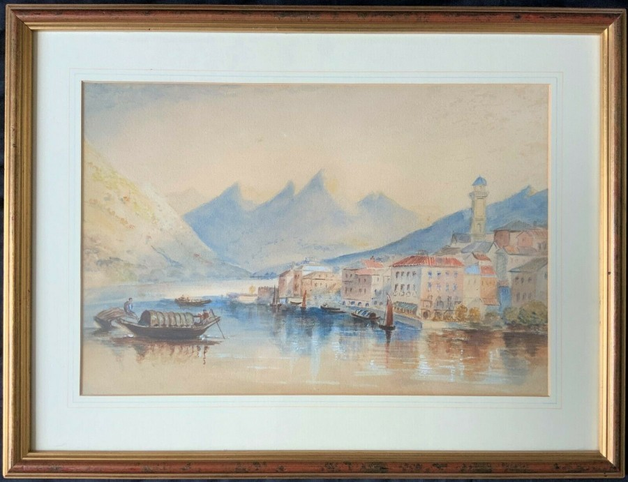 ITALIAN SCHOOL - LOVELY ANTIQUE MOUNTAINOUS LAKE LANDSCAPE WATERCOLOUR PAINTING