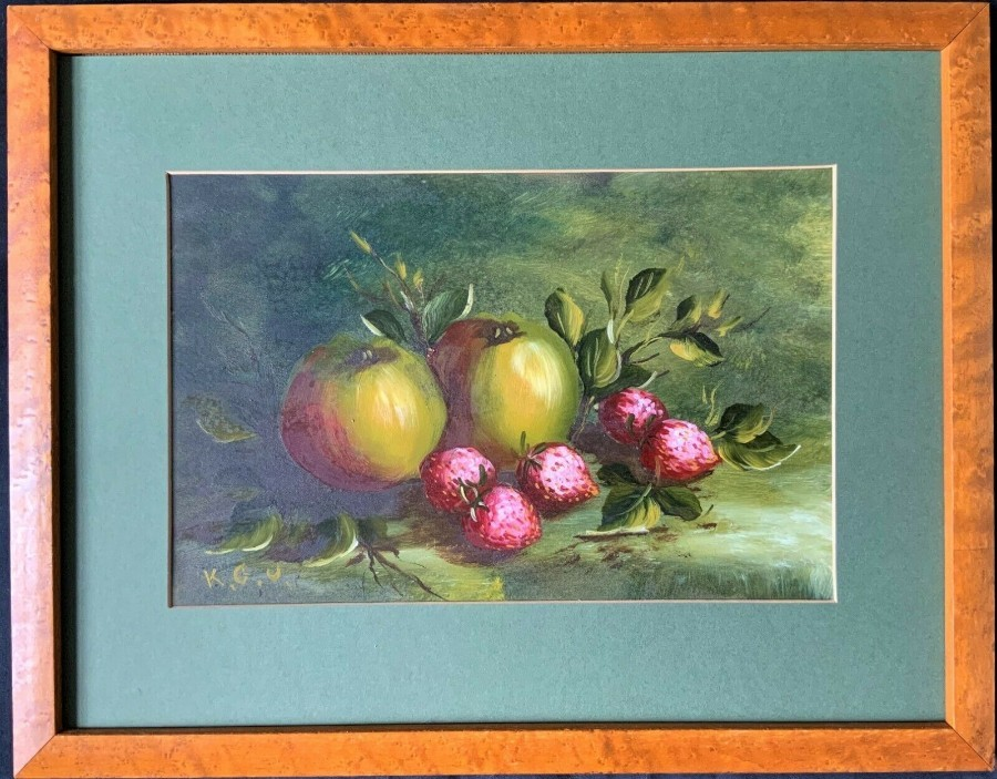 EARLY 1900's ENGLISH SCHOOL ANTIQUE STILL LIFE FRUIT STUDY OIL PAINTING