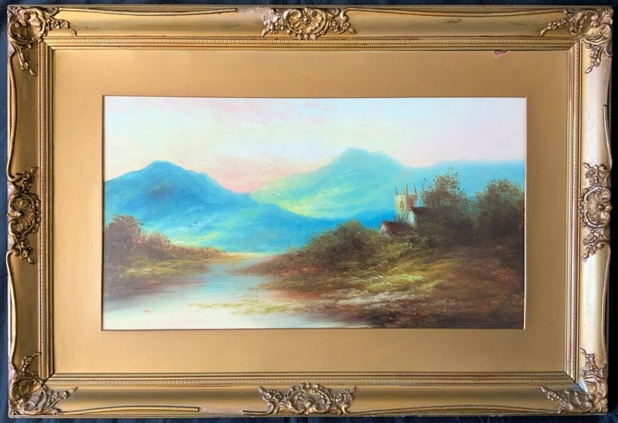 SCOTTISH SCHOOL - FINE 19thc MOUNTAINOUS CHURCH LANDSCAPE OIL PAINTING