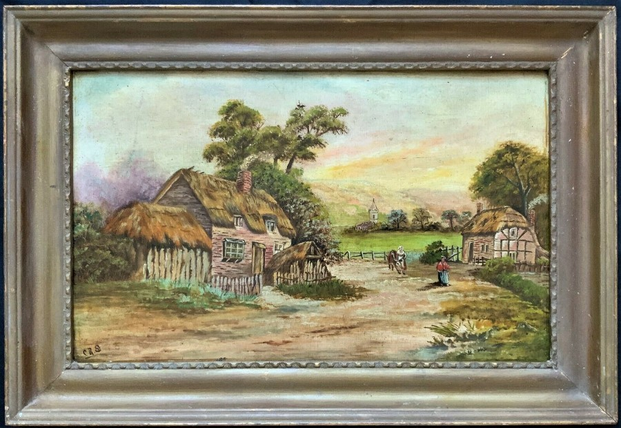 FINE EARLY 1900's ANTIQUE ENGLISH FARMING COUNTRYSIDE LANDSCAPE OIL PAINTING