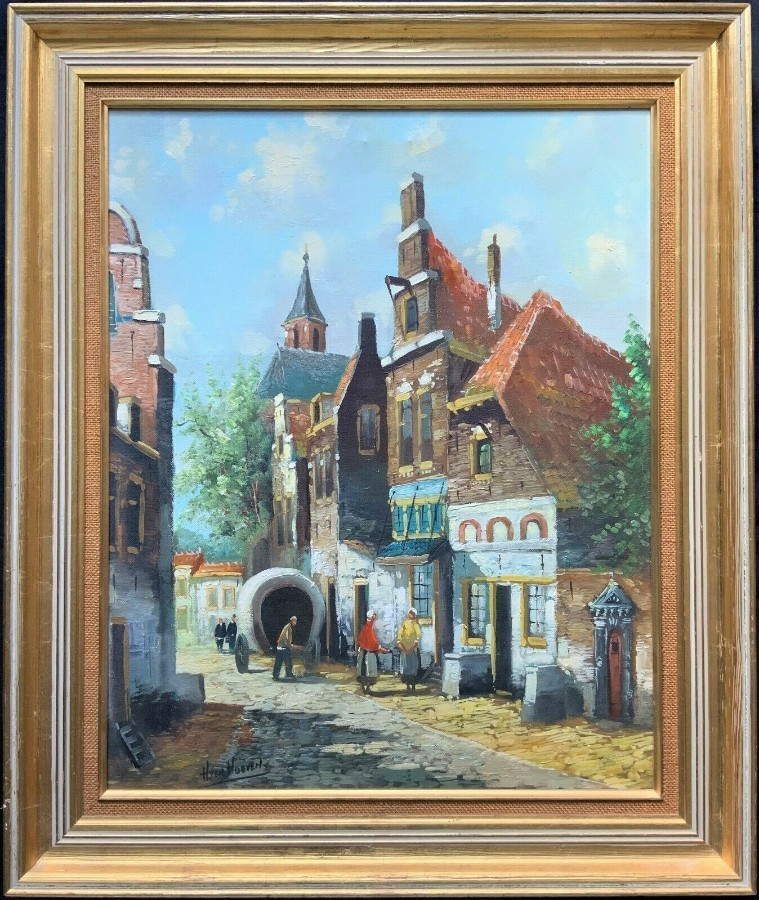 'Hendrick Ten Hoven' (Dutch B.1901) BUSTLING CITYSCAPE STREET OIL PAINTING