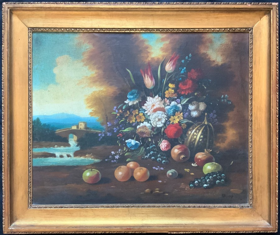 FINE ORIGINAL EARLY 1900's ENGLISH SCHOOL FRUIT & FLORAL STILL LIFE OIL PAINTING