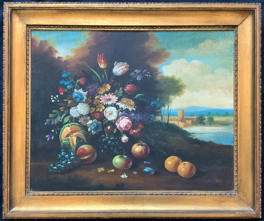 FAB ORIGINAL EARLY 1900's ENGLISH SCHOOL FRUIT & FLORAL STILL LIFE OIL PAINTING