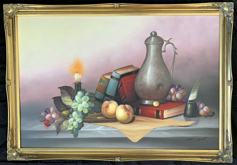 FABULOUS V.LARGE 20thc VINTAGE STILL LIFE FRUIT & FLOWER STUDY OIL PAINTING