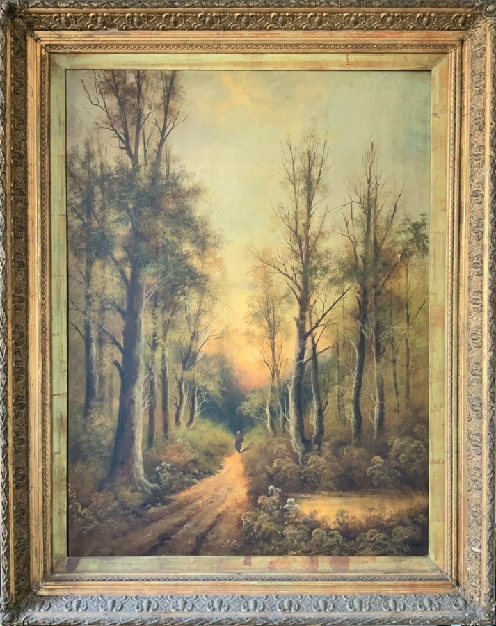 'L COOK' HUGE 19thc FRAMED & SIGNED ANTIQUE OIL ON CANVAS LANDSCAPE PAINTING