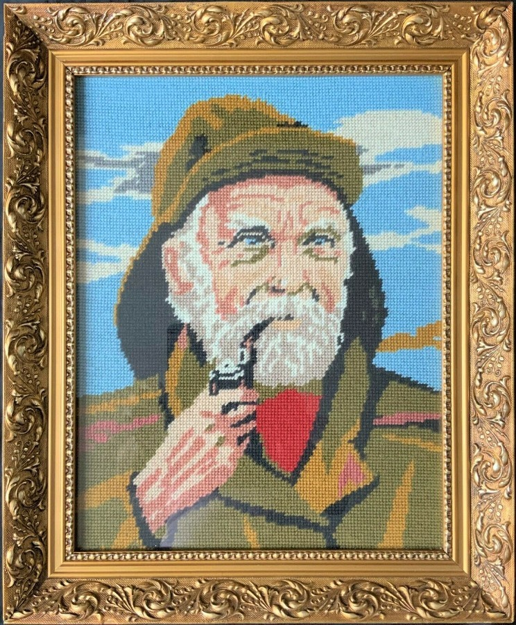 EXHIBITION CONDITION! VINTAGE GILT FRAMED TAPESTRY CORNISH FISHERMAN PORTRAIT