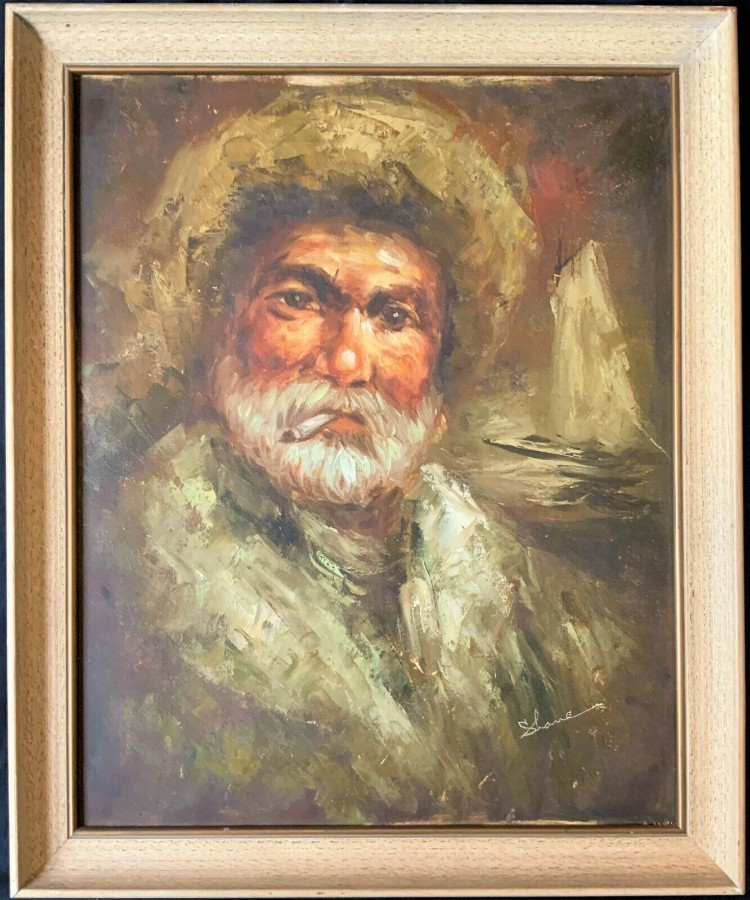 'A GALILEE FISHERMAN' SUPERB MID 20th CENTURY ISRAELI OIL PORTRAIT PAINTING