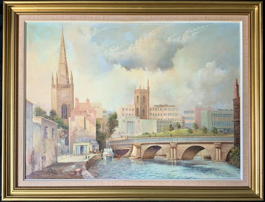 'W Phillips' SUPERB ORIGINAL 20thc BRISTOL CITYSCAPE OIL ON CANVAS PAINTING
