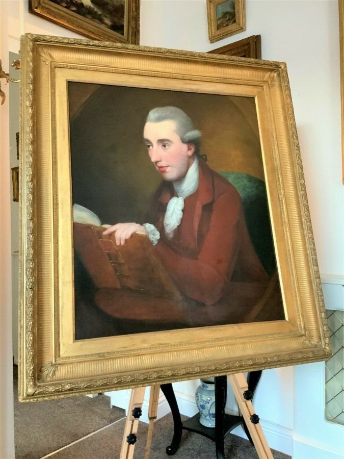 Antique CIRCLE OF SIR JOSHUA REYNOLDS - LARGE SUPERB 18th CENTURY OIL PORTRAIT PAINTING