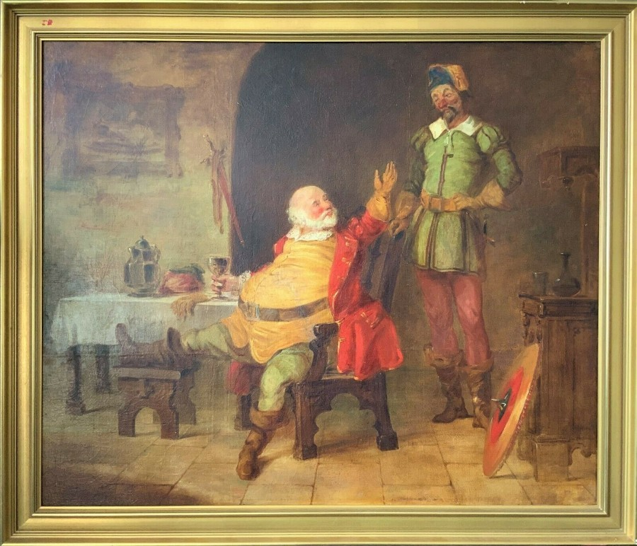 VERY FINE V.LARGE 19thc FLEMISH OIL PORTRAIT PAINTING OF FALSTAFF - SHAKESPEARE