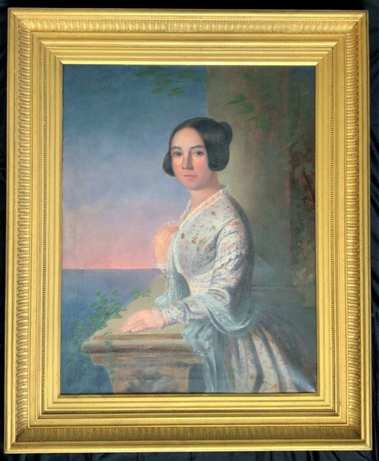A FINE V.LARGE 19thc REGENCY OIL PORTRAIT PAINTING OF A LADY LOOKING OUT AT SEA