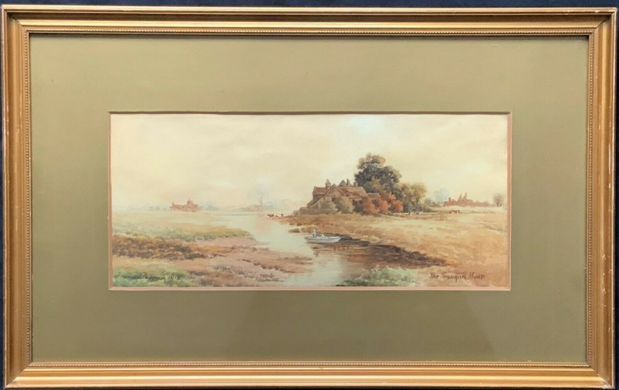 Frances Farrer' (1918) 'THE TRANQUIL HOUR' ORIGINAL RIVER WATERCOLOUR PAINTING