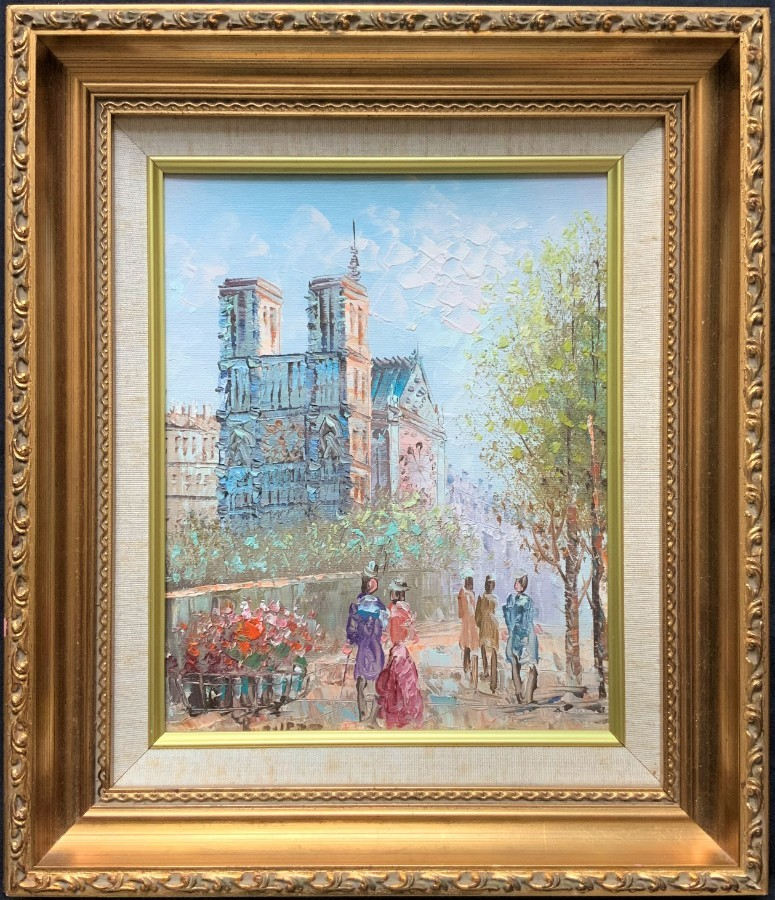 AN EXCEPTIONAL ORIGINAL ANTIQUE 20thc NOTRE DAME PARIS CITYSCAPE OIL PAINTING