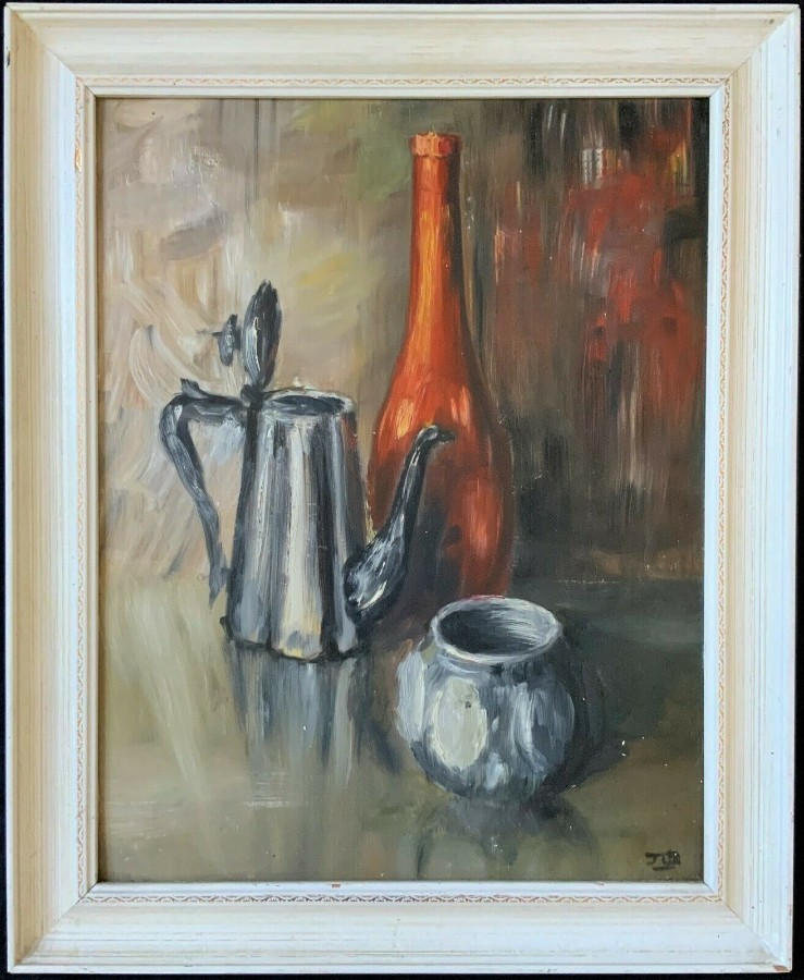 WONDERFUL ORIGINAL 20thc VINTAGE IMPRESSIONIST STILL LIFE STUDY OIL PAINTING