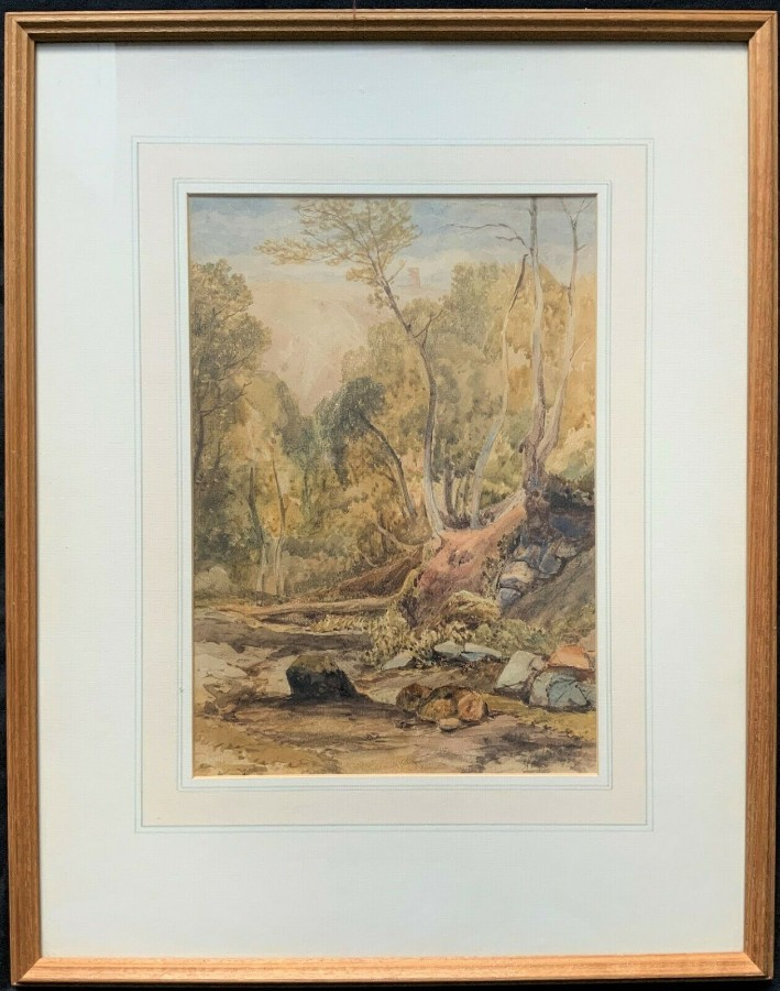 Henry Barlow Carter R.A (1804-1868) ORIGINAL 1830 WOODLAND WATERCOLOUR PAINTING