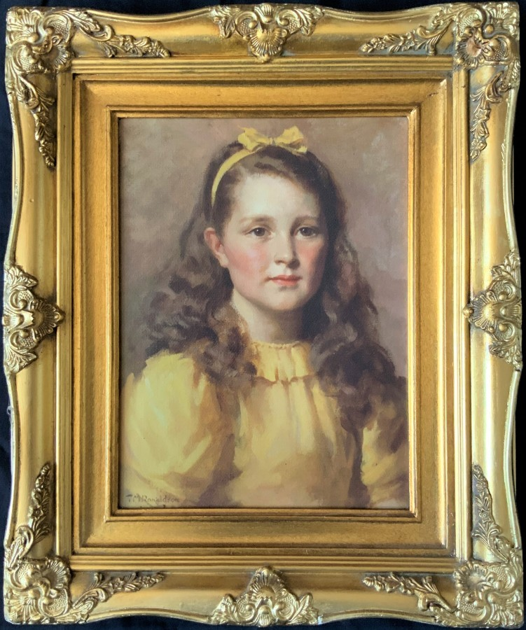 LOVELY 20thc VINTAGE ANTIQUE PRINT ON CANVAS PORTRAIT PAINTING OF A YOUNG GIRL