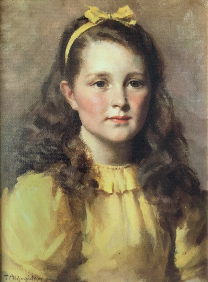 Antique LOVELY 20thc VINTAGE ANTIQUE PRINT ON CANVAS PORTRAIT PAINTING OF A YOUNG GIRL