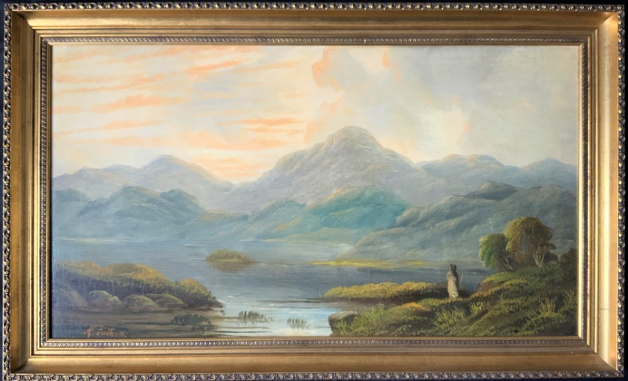 LARGE BEAUTIFUL 19thc ANTIQUE VICTORIAN SCOTTISH HIGHLAND LOCH OIL PAINTING