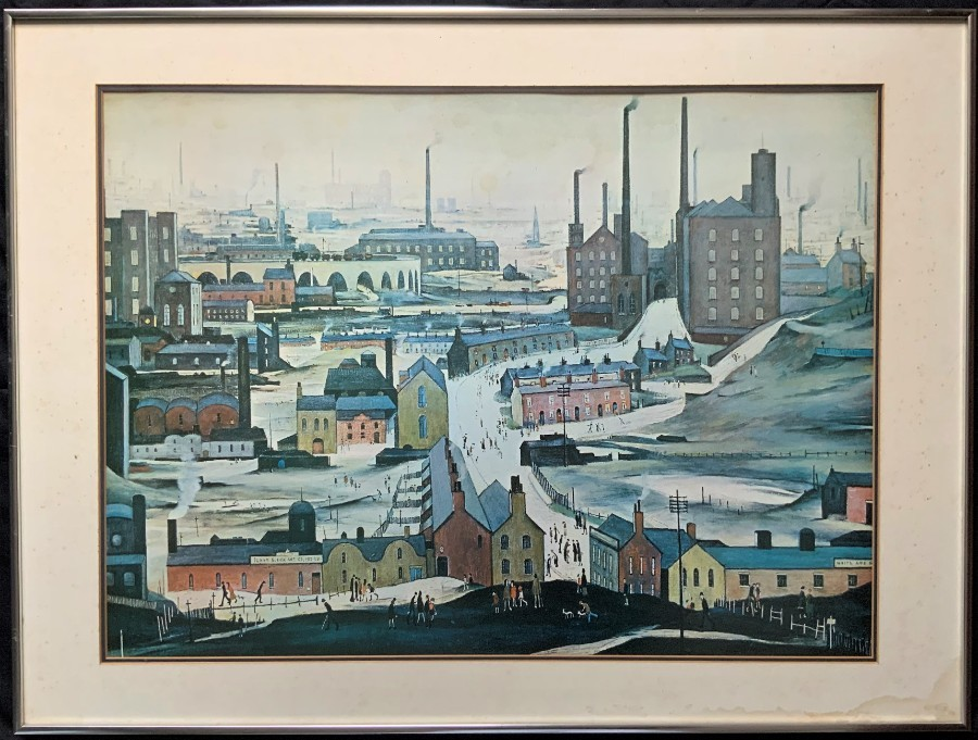 'L. S. Lowry' QUALITY LARGE FRAMED EARLY ANTIQUE PRINT OF 'Industrial Landscape'