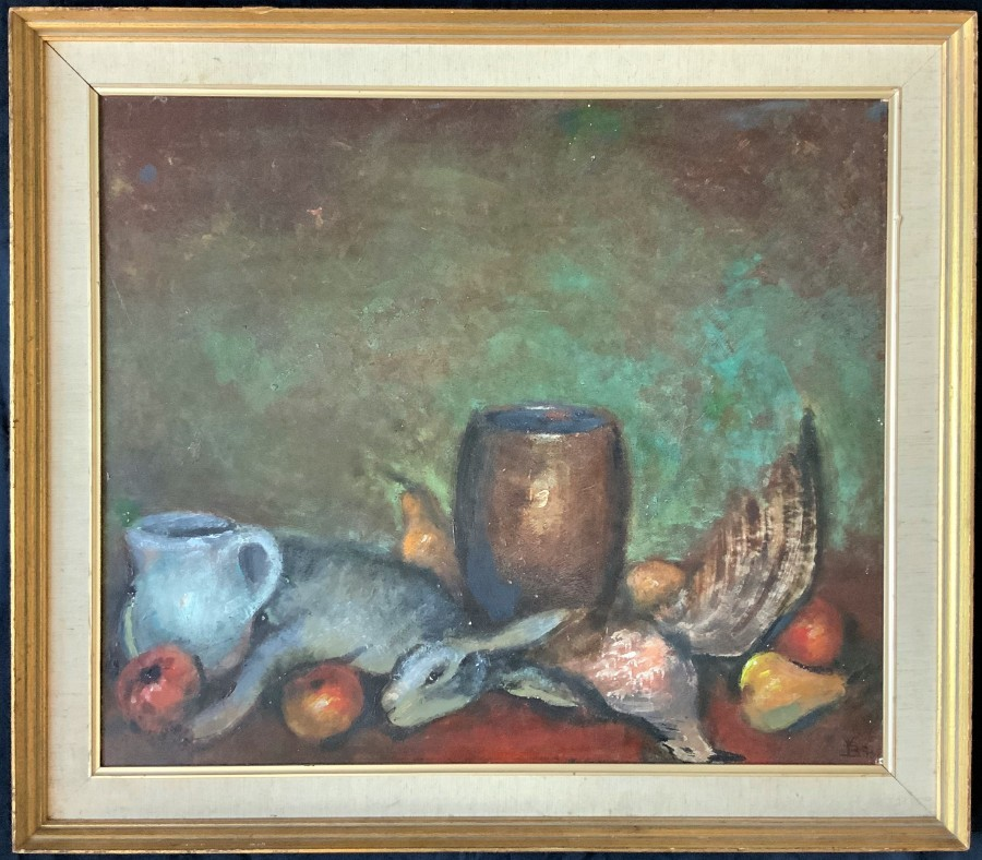 VINTAGE 20thc ENGLISH SCH STILL LIFE STUDY - DEAD GAME - HARE - FRUIT - PHEASANT