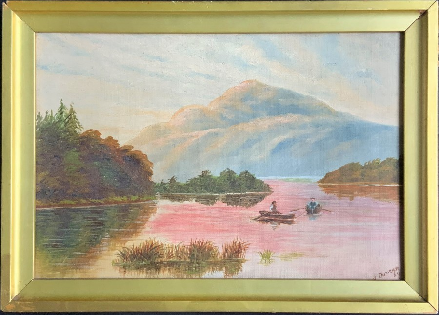 'A Duncan' 19thc ANTIQUE SCOTTISH HIGHLAND MOUNTAIN LOCH LANDSCAPE OIL PAINTING