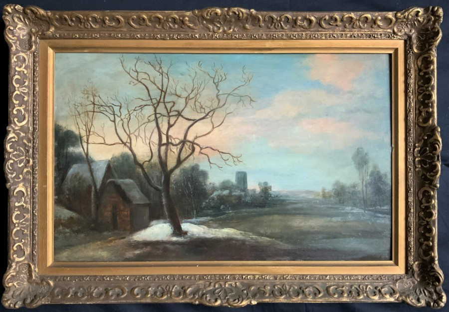BEAUTIFUL '19thc DUTCH SCHOOL' WINTER SNOWY LANDSCAPE OIL ON OAK PANEL PAINTING