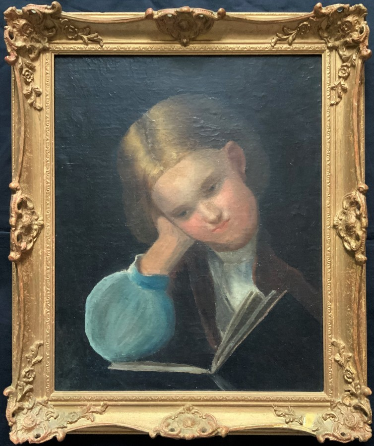 ENCHANTING 19thc OIL PORTRAIT PAINTING OF A YOUNG CHILD READING