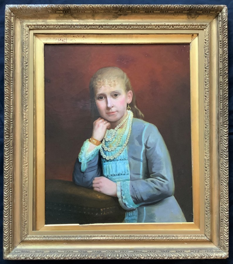 'SUPERB' V.LARGE 19thc PERIOD OIL PORTRAIT PAINTING OF AN AFFLUENT REGENCY GIRL