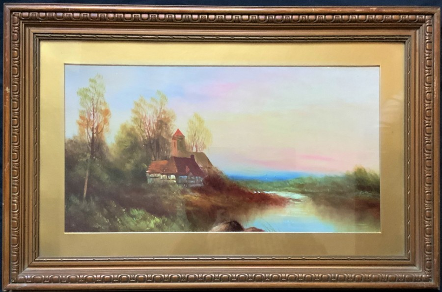 A LOVELY 19thc VICTORIAN ANTIQUE ENGLISH SCHOOL WATERCOLOUR LANDSCAPE PAINTING