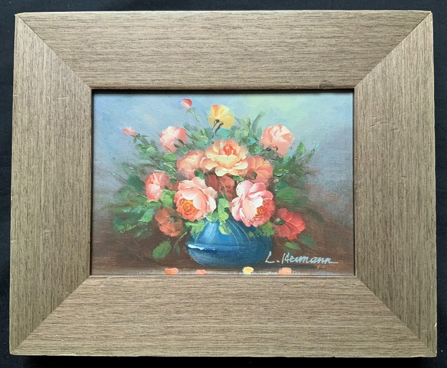 'L Hermann' BEAUTIFUL SMALL 20thc FLORAL STILL LIFE STUDY OIL PAINTING (1 OF 3)'