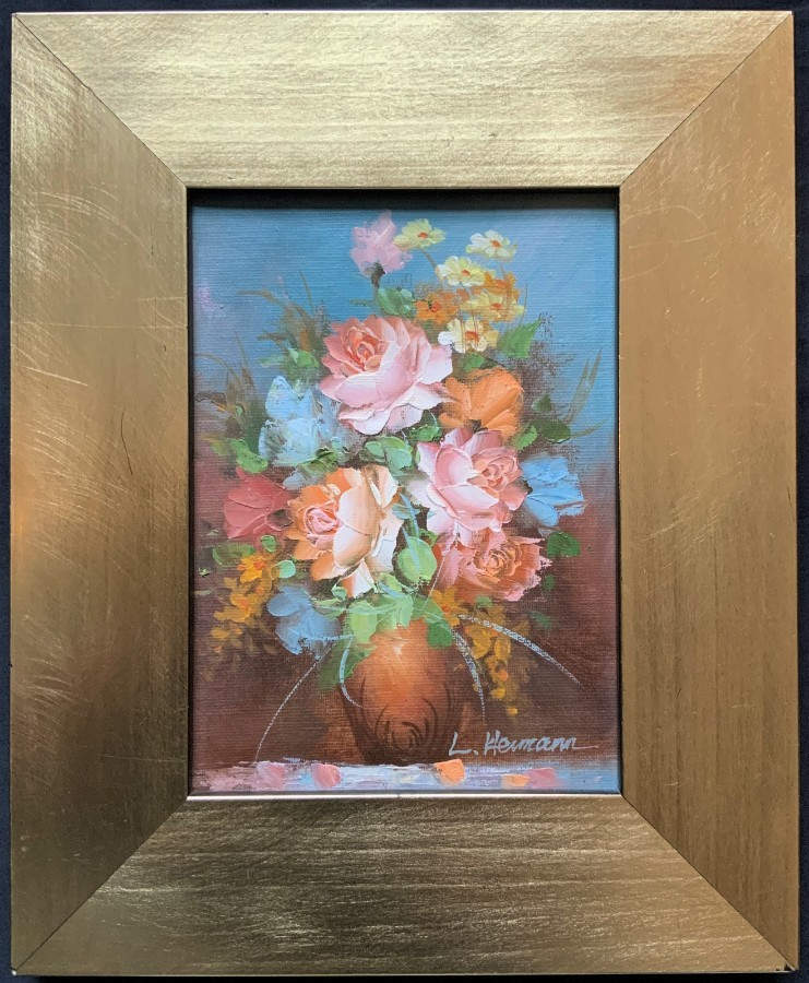 'L Hermann' BEAUTIFUL SMALL 20thc FLORAL STILL LIFE STUDY OIL PAINTING (3 OF 3)'