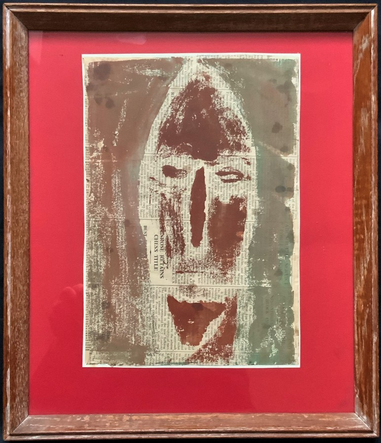 'Carol Burns' 20thc (British School) AFRICAN TRIBAL MASK PAINTING ON NEWSPRINT