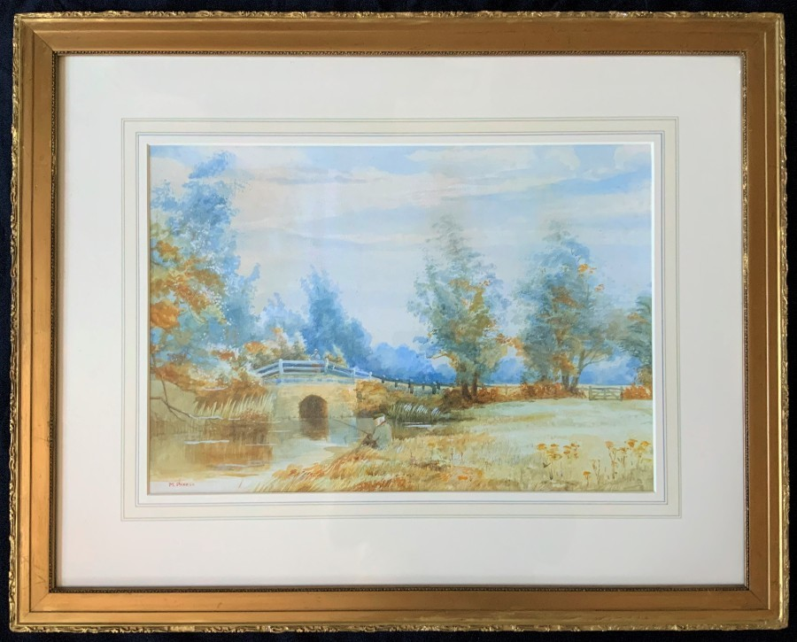 'M Parker' SUPERB EARLY 20thc FISHING ON THE BANK LANDSCAPE WATERCOLOUR PAINTING