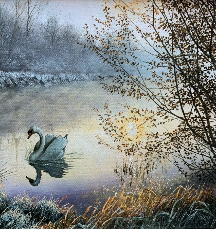 Antique 'A Frosty Sunrise' STUNNING ORIGINAL 20thc SWAN & CANAL LANDSCAPE OIL PAINTING