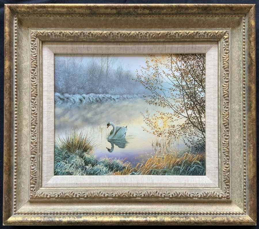 'A Frosty Sunrise' STUNNING ORIGINAL 20thc SWAN & CANAL LANDSCAPE OIL PAINTING