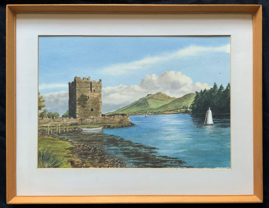 'Carlingford Castle' LOVELY 20thc ANTIQUE IRISH LANDSCAPE WATERCOLOUR PAINTING