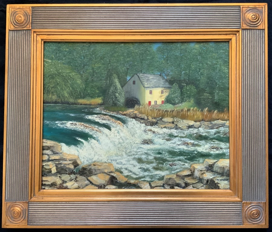 'Watermill House, New Forest' A FAB ORIGINAL GILT FRAMED OIL ON CANVAS PAINTING